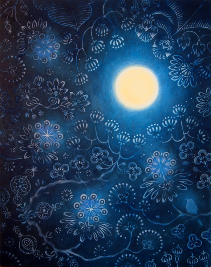 CATCHING THE MOON 2014 36x285inches Watercolor